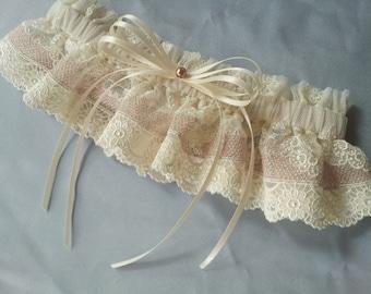 Champange Ivory Elegant Lace Pearl Bridal Garter Wedding
