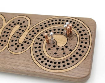 Cribbage Board - Walnut Wood with Cherry Curl. Personalize it with Optional Custom Engraving. Great Gift Idea. Made in the USA!