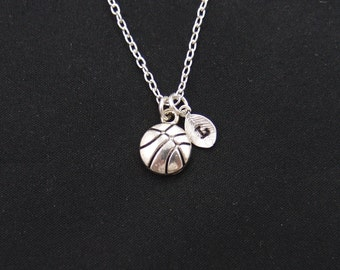 basketball necklace, sterling silver filled, initial necklace, silver basketball charm on silver chain, team gift, sports charm necklace