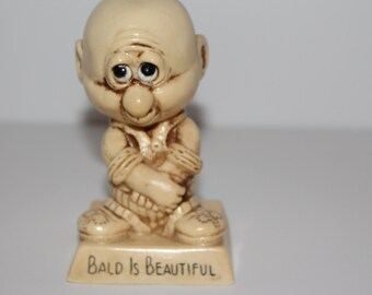 Bald is Beautiful Figurine of Man W.E.R. Berries  1974 Made in USA