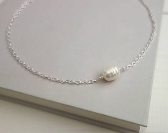 Chain choker necklace white pearl necklace single pearl choker minimalist choker necklace for women