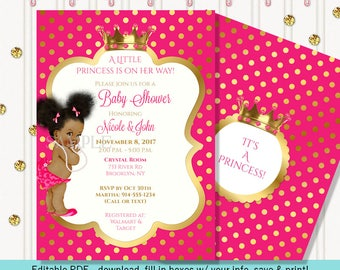 Little Princess | Hot Pink and Gold | African American Vintage Baby Afro Puffs | Editable Instant Digital Download