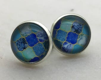 Blue mosaic glass dome stud earrings. 14mm with surgical steel and nickel free posts