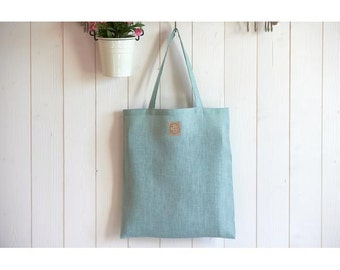 Tote bag, bag for groceries, water green linen, elegant, lightweight, durable and eco-friendly