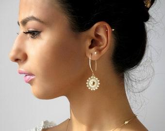 Long pearl bridal dangle earrings, Wedding swarovski champagne crystal earrings, Bridesmaid earrings gold, Unique formal earrings