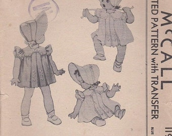 ON SALE 1940s  Sewing Pattern - McCall's 1190 Childs Dress and Bonnet size 6 months, Dress Pattern Cut, Complete Transfer Included