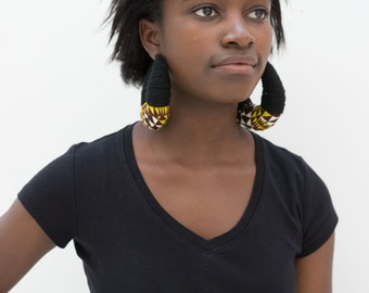 African wax print and wool unique hoops. black earrings, crowd stopper. Fulani inspired hoops.