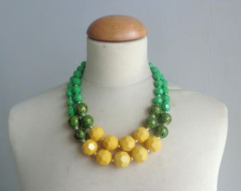 Chunky Double Strand Statement Necklace, green yellow Anthropologie,  modern tribal, statement, yellow green summer necklace
