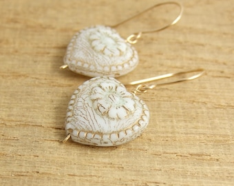 Earrings with Cream and Gold, Czech Glass Heart Beads Wire Wrapped with 14k Gold Filled Wire GHE-31