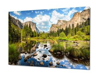 Yosemite Photography, Large California Canvas, Yosemite Reflection Art, Merced River Yosemite National Park, Mountain Art, Scenic Wall Decor