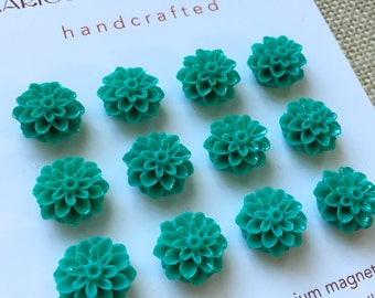 SPECIAL VALUE (12) mini magnets, teal blue flowers, small strong magnets, office supply, dorm decor, bulletin board, bridesmaids gifts
