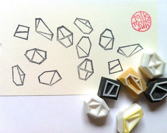 geometric rubber stamp set | gemstone rock stamps | card making | clay stamping | diy art journal | hand carved by talktothesun | set of 6