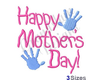 Happy Mothers Day Kids Hands - Machine Embroidery Design