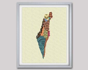 Israel Map, Israeli Art Print, Israeli Travel Poster Wall Decor,  Map Poster Israel, Jerusalem Print, Israel Poster, Holy Land Tel Aviv