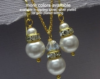 Gold Plated White Pearl Bridesmaid Jewelry Set, Swarovski White Pearl Jewelry Set, Maid of Honor Gift, Bridesmaid Gift, Wedding Jewelry Set