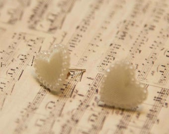 Small white love heart silver plated studded earrings