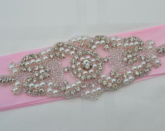 Bridal Sash-Rhinestone Crystal Pearl -Wedding Dress Belt-Pink Wedding Sash