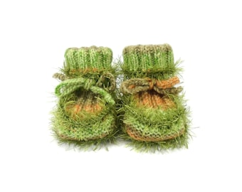 Hand Knitted Baby Booties - Light Green, 3 - 6 months