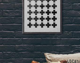 Swiss Cross Print, Plus Sign Print, Industrial Wall Art, Modern Art Print, Geometric Wall Art, Abstract, Cafe, Scandinavian, Loft, D079