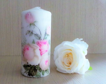 Vintage Rose, Decorative Candle, Decoupage Candles, Rose Pillar Candle, Wedding Decor Candle, Shabby Chic Candle, Pink Roses Candle, Floral