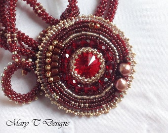 Gold and Red Beadwoven Pendant Necklace...EBW Challenge June 2015