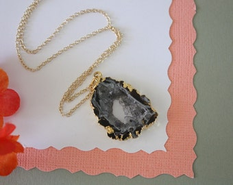 Geode Necklace, Druzy Necklace Gold, BoHo Necklace, Crystal Necklace, Geode Slice, Gold Slice Druzy,GCH12