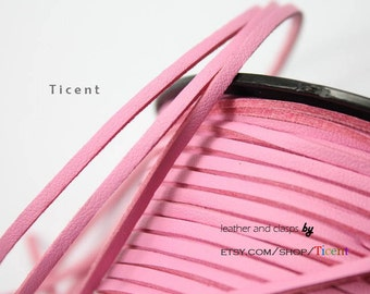 10 Yards 3mm Patent Faux Suede Leather, Baby Pink Coated Suede Leather CS3M163