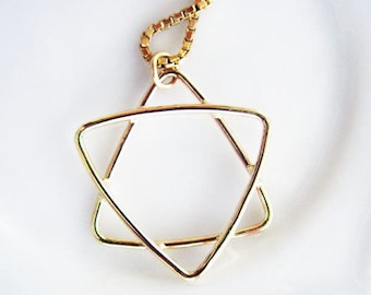 Handmade 14K Gold Star of David Pendant Charm. Unisex Design. Gold Jewish Symbol. Protection Star Symbol. Recycled Eco Friendly Gold Amulet