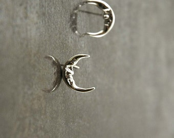 Man In The Moon earrings, posts, studs, handmade original in solid 925 Sterling Silver, Crescent moon earrings
