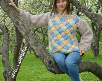 Knitted Oversize Sweater Entrelac Bulky Chunky Wool