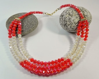 Red White Multistrand Necklace Statement Necklaces For Women Layered Beaded Necklace Chunky Necklaces Boho Jewelry Gift for her Handmade
