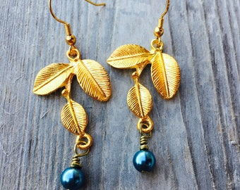 Earrings Something Blue Earrings. Pearl Leaf Earrings. Gold Leaf Drop Earrings. Botanical Leaf Earrings. Blue and Gold Jewelry Gift For Her.