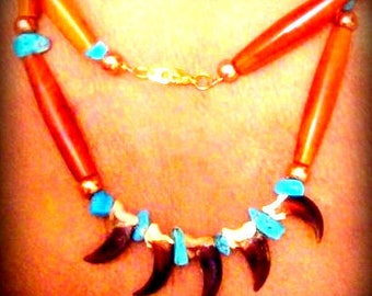 NATIVE AMERICAN HANDCRAFTED Turquoise,Ram horn and Coyote claw necklace, Choctaw made beaded necklace, Indian made necklace