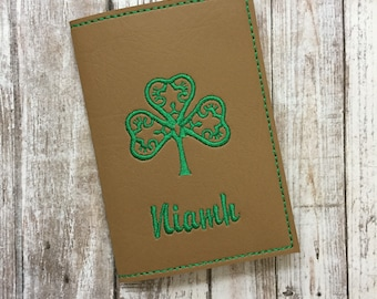 Personalized Passport Holder, Clover Passport Cover, Travel Wallet with Name, Travel Gift, Irish Passport Case, Ireland, Traveler Accessory