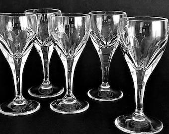 5 Crystal Cordial Glasses Vintage Cut Glass Cordials Aperitif Liqueur Glasses Villeroy & Boch
