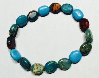 Turquoise and brown rock-like beads