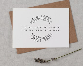 To My Grandfather On My Wedding Day, Wedding Card To My Grandfather Wedding Day, Wedding Stationery, Thank You Wedding Card, Wedding Note,K9
