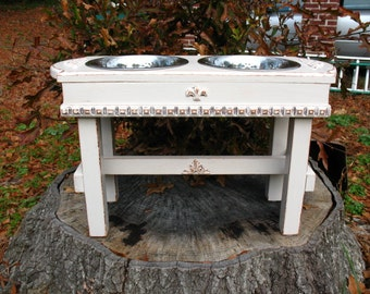 Elevated Wooden Pet Dog Bowl Feeder Cottage Chic Antique White 2 Two Quart stainless Bowls Made To Order