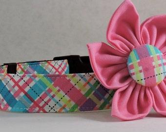 Dog Collar  with Flower - Pink Biasplaid - All Sizes