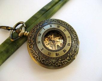 "Pocket Watch - Antique Bronze includes 15"" Pocket Watch Chain - Mechanical Watch - Steampunk - Groomsmen Gift - Watch - Item MPW780"