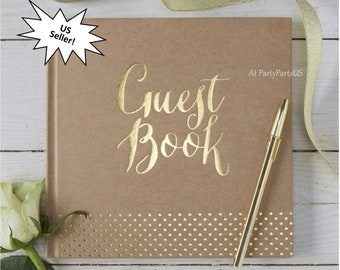 kraft guest book, wedding sign in, gold lettering, graduation party keepsake, baby shower, bridal, retirement, Sweet 16, rustic, unisex