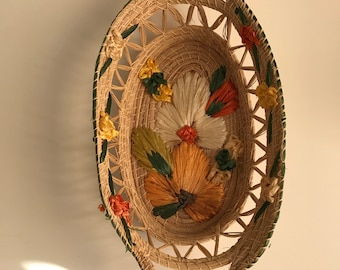 Vintage basket with embroidered flowers