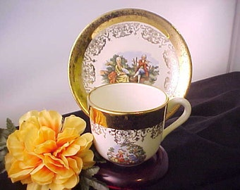 Circa 1940s Sabin Crest O Gold China Demi Cup and Saucer, 22 K Gold Trim Vintage Collectible Demitasse Cup With Colonial Courting  Scene
