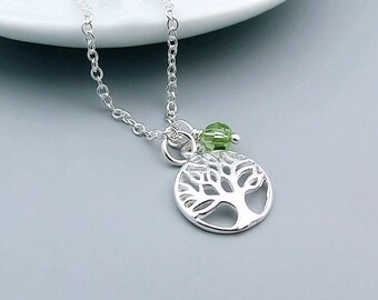 Tree of Life Necklace, Sterling Silver, Family Tree Necklace, Birthstone, mom necklace, mothers day, grandma jewelry, friends jewelry