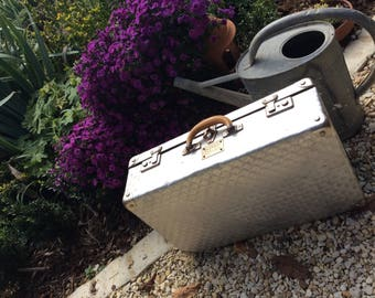 Midsize Vintage French Aluminium suitcase, leather handle machined industrial style