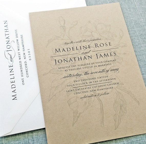 Recycled Wedding Invitations: Madeline Rose Recycled Kraft Wedding Invitation Sample