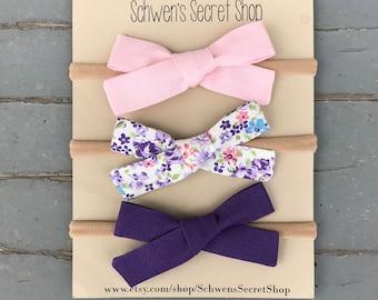 Spring baby bow, hand tied bow, baby girl headband, fabric baby bow, baby headband, baby bow headband, nylon headband, baby hair bow