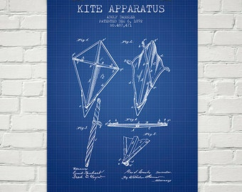 1892 Kite Apparatus Patent Wall Art Poster, Home Decor, Gift Idea