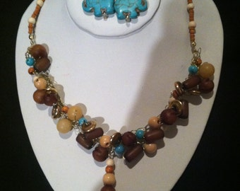 Turquoise Elephant Bead and Crochet Gold Wire Necklace and Earring Set