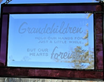 Stained Glass, Etched,  Sun Catcher - Grandchildren Hold our Hands - Hand Crafted - Amethyst Purple